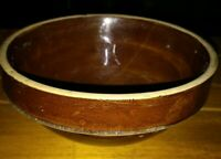 "Old! Vintage Brown Stoneware Pottery Serving Mixing Bowl 7"" diameter x 3.5"" tall"