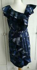 Per Una Speziale Navy Midnight Mix Frill Dress Size 12 RRP - 79.00