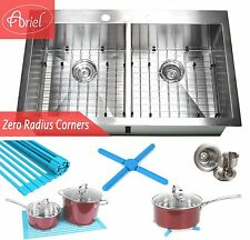 "Ariel 36"" x 22""  Stainless Steel Double Bowl 50/50 Topmount Kitchen Sink Comb"