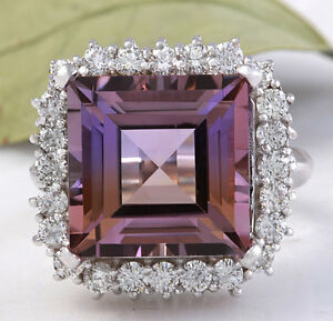 HEAVY 13.45 Carats Natural Ametrine and Diamond 14K Solid White Gold Ring