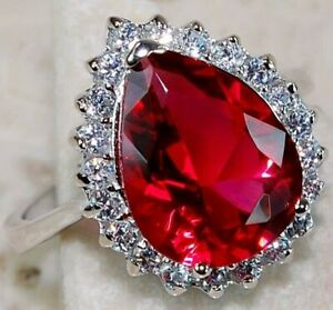 Top Quality 5CT Ruby &  White Topaz 925  Sterling Silver Ring Jewelry Sz 7, M3