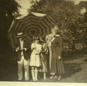 Antique Postcard Real Photo 1920s Girl Umbrella Man Straw Hat Orange Grove RPPC