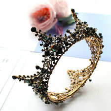 """Luxury Black Crystal Queen Gold Crown Wedding Bridal Party Pageant Prom 5"""" Wide"""