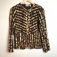 Chico's Size 0 = Small Travelers Collection Leopard Semi Sheer Open Cardigan Top