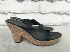 Cole Haan Cork Platform Sandals Chunky High Heel Open Toe Leather Black US 8.5