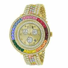Real Diamond Gold Finish Rainbow Multi Color Band Removable Bezel Wrist Watch