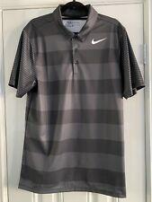 Nike Golf Shirt Breathe Bold  Black & Dk Grey Stripe Used Twice Size Small