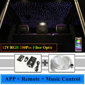 12V LED Car Sky Star Ceiling Headliner Light Kit 200Pcs Fiber Optic APP Remote