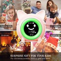 KE_ KQ_ Cartoon LED Digital Display Alarm Clock With Night Light Kids Sleeping
