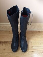 Woman's Hogl Boots Size 6 U.K. Below The Knee Black Leather