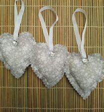 set of 3 fabric hanging hearts grey floral bedroom decoration wedding favour