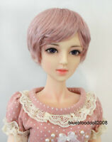 "1/3 1/4 bjd 7-8"" doll head pink short wig dollfie Luts Iplehouse MSD 28053"