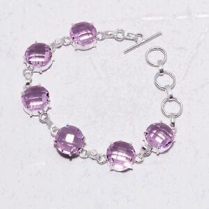 Pink Topaz Gemstone Handmade Bracelet Jewelry Gms 17 LB-625