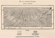 Îles Aléoutiennes. Alaska 1885 old antique vintage carte plan graphique