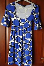 Dorothy Perkins ladies scoop neck Dress, Blue/White, size 12, short sleeves