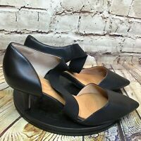 Corso Como Womens Black Pointed Toe Cross Strap Kitten Heels Size 7.5 Wide