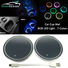 Pair Switchable 7 Colors LED Car Cup Holder Mat Pad Atmosphere Light Lamp USB