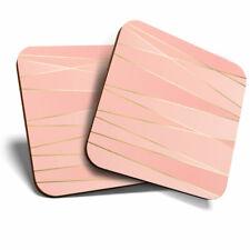 2 x Coasters - Pink Geometric Art Deco Gold Home Gift #24013