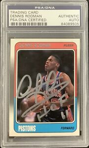 Dennis Rodman Signed 1988 Fleer Rookie Card #43 Pistons Autograph HOF PSA/DNA
