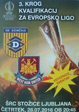 Flyer UEFA EL 2016/17 NK Domzale - West Ham United