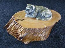 Cat Cub Figurine Unique New Oregon Madrone Wood Base