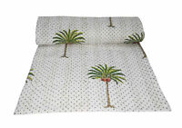 Palm Tree Print Cotton Indian Bedding Bedspread Twin Size Kantha Quilt Blanket