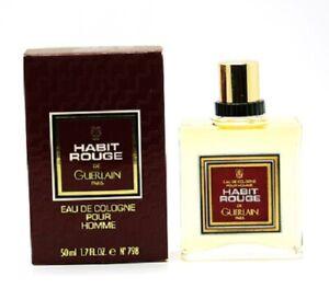 HABIT ROUGE by GUERLAIN 1.7oz-50ml Eau De Cologne Splash for Men -RARE- (BL15
