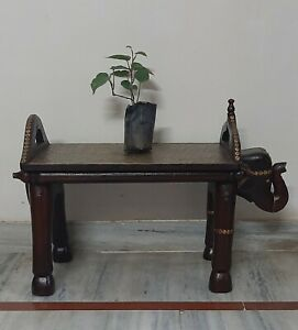 Wooden polished floral brass fitting table elephant head bench Indien furniture