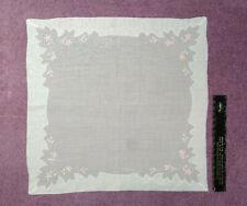 Vintage Handkerchief: Floral Motif_Embroidered Pink Flowers_Decorative Border