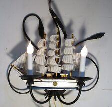 Vintage Sconce Sailing Ship Unique  Wrought Iron Black Wall Lamp Light Fixture