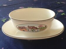 Vintage VILLEROY & BOCH NAIF Design GRAVY BOAT WITH ATTACHED STAND 14oz EUC