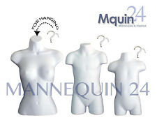 3 MANNEQUINS - FEMALE TORSO, CHILD & TODDLER BODY FORMS -WHITE + 3 HANGERS