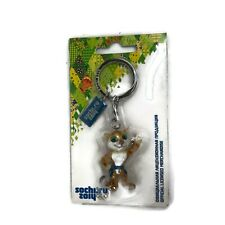 2014 Sochi Olympic Winter Games Mascot Keyring with Snow Leopard Mascot - Rare