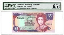 BERMUDA-5 DOLLARS-1996-PICK 41c-SERIAL NUMBER 600403 **PMG 65 EPQ GEM UNC**