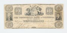 1850 $10 Dollar The Commercial Bank of Columbia South Carolina