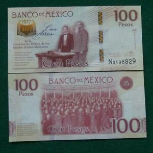 2016 MEXICO 100 pesos note 1917-2017 100th anniv CRISP