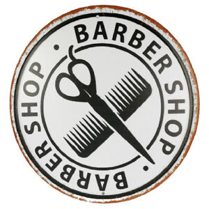 Metal Sign round stylish sign for barbershop  only 30cm diameter 12 inches