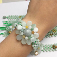 Pretty A JADE Jadeite Bead Beads Bangle Flower Bracelet Green 7.5""