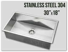 "30"" Single Bowl Undermount 16 Gauge 304 Stainless Steel Kitchen Sink Zero Radius"