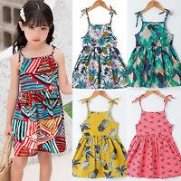 Toddler Kids Girls Baby Ruffle Floral Summer Dress Casual Party Beach Sundress