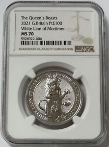 2021 PLATINUM GREAT BRITAIN 100 POUNDS QUEEN'S BEASTS WHITE LION COIN NGC MS 70