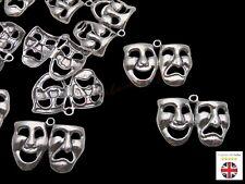 5 Pcs Tibetan Silver Theatre Mask Comedy & Tragedy Art 31mm Charms Pendants A151