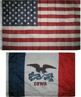 Wholesale Combo Lot 3x5 USA Flag & State of Iowa 2x3 2 Flags Banner