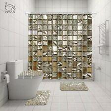 Golden White Beige Bathroom Shower Curtain Toilet Seat Cover Rug Set