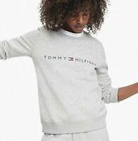 Tommy Hilfiger Womens Designer Essential Logo Sweatshirt Jumper Grey Size M
