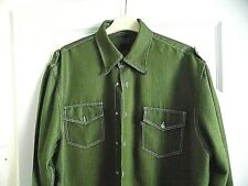 Mens William Bryce Khaki Green Shirt, Long Sleeved XL 48 ins Chest Pockets