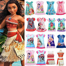 Girls Cartoon Princess Moana Nightwear Dress Mermaid Nightdress Pyjamas Costume