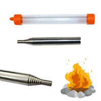 KQ_ KE_ FT- EB_ Camping Picnic Retractable Stainless Steel Blow Fire Tube Surviv