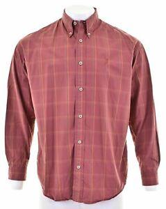 MARLBORO CLASSICS Mens Shirt XL Burgundy Check Cotton GP03