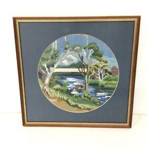 Framed Long Stitch Tapestry Of River & Bridge Scene #209